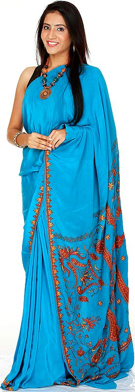 Algiers Blue Sari from Kashmir with Sozni Work