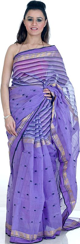 Amethyst Hand-Woven Sari with All-Over Weave