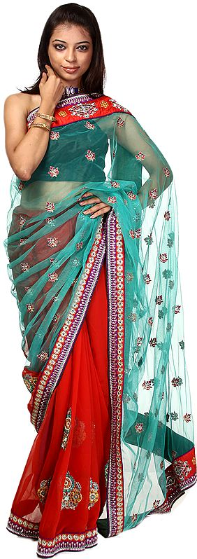 Baltic Blue and Red Designer Sari with All-Over Embroidered Sequins and Patch Border