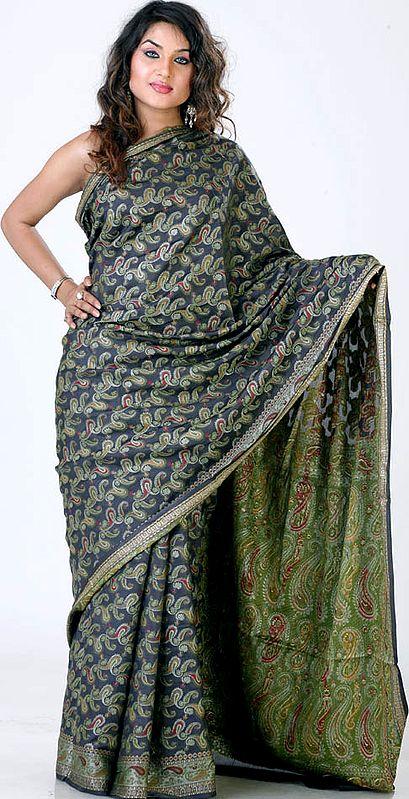 Black Paisley Jamdani Sari Hand-Woven in Banaras