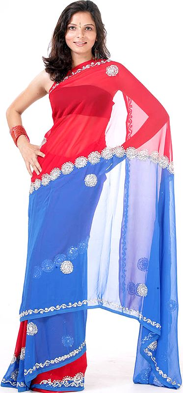 Blue and Red Mumtaz Sari with Sequins and Beads