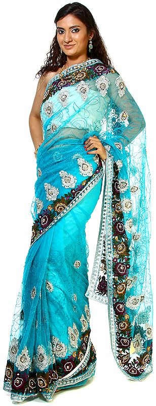 Blue-Atoll Designer Sari with Silver Thread work, Beads and Embroidered Flowers