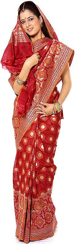 Burgundy Jamdani Sari from Banaras with Woven Circles