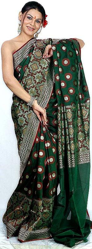 Dark-Green Designer Jamdani Sari from Banaras with All-Over Golden and Jute Thread Weave