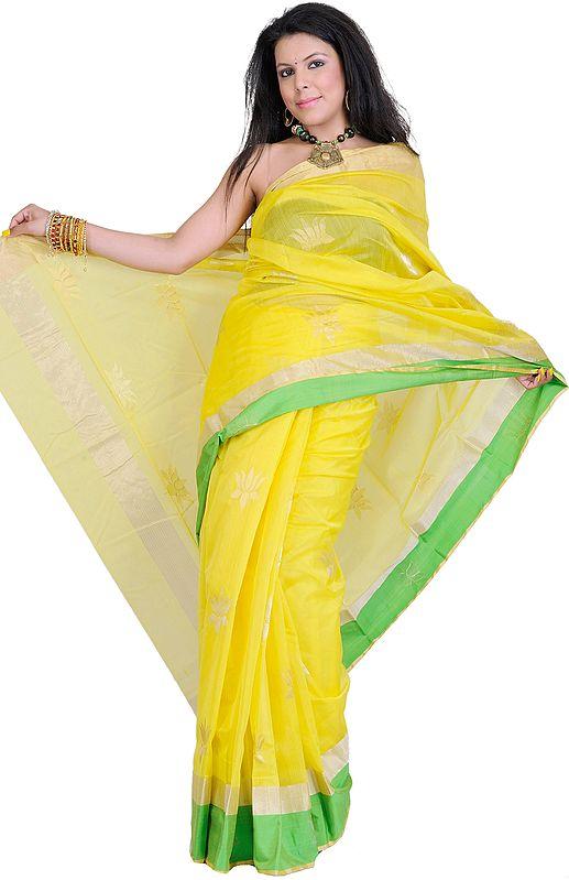 Empire-Yellow Chanderi Sari with Hand-woven Lotuses in Golden Zari Thread