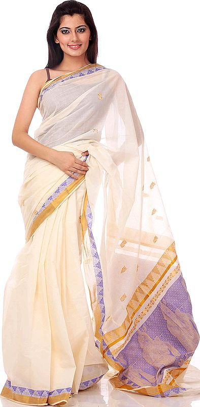 Ivory and Blue Kasavu Cotton Sari from Kerala with Little Krishna Woven on Anchal