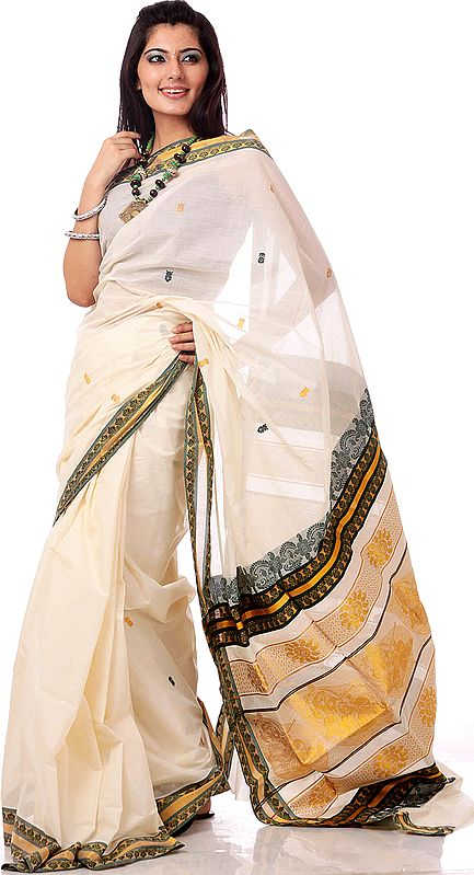 Ivory and Golden Kasavu Cotton Sari from Kerala with Little Krishna Woven on Anchal
