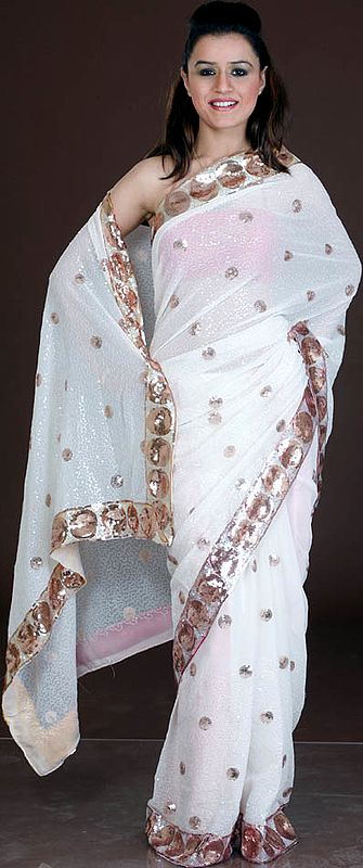 Ivory Bridal Sari with All-Over Sequins and Threadwork