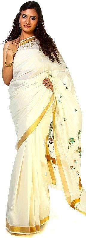 Ivory Kasavu Sari with Embroidered Little Krishna and Golden Border