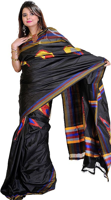Licorice-Black Double Ikat Sari from Pochampally with Hand-Woven Peacock Feathers