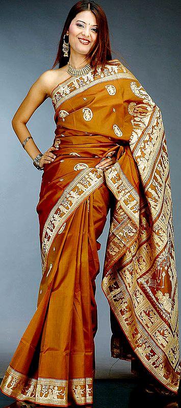 Lord Krishna on a Brown Baluchari Sari