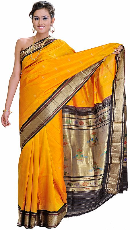 Mineral-Yellow Paithani Sari with Hand Woven Peacocks on Aanchal