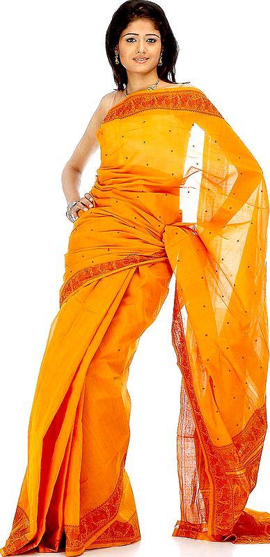 Orange Little-Krishna Baluchari Sari