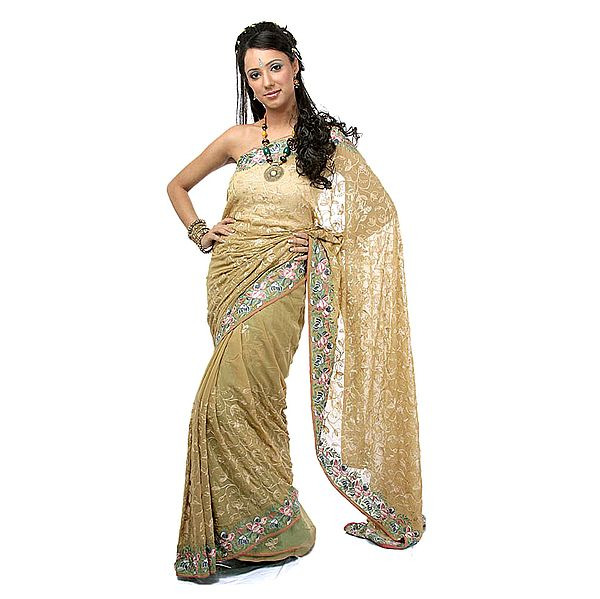 Khaki Sari with Parsi Embroidered Flowers All-Over