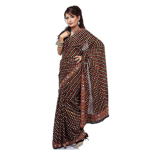 Black Bandhani Sari with Hand-Embroidered Rabari Patch Border