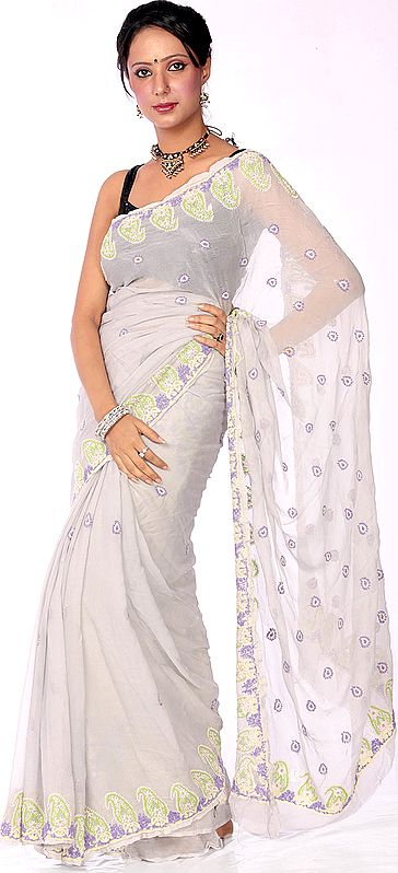 Gray Hand-Embroidered Chikan Sari from Lucknow