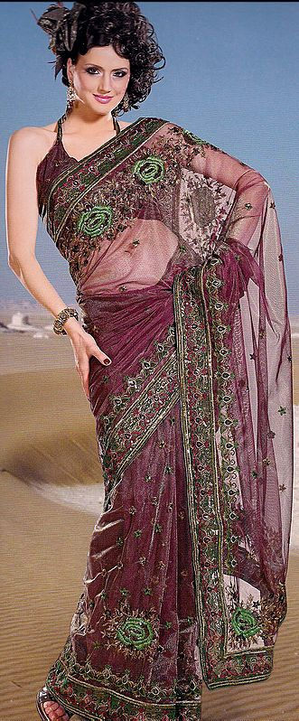 Cordovan Net Sari with Parsi Embroidered Bootis and Border