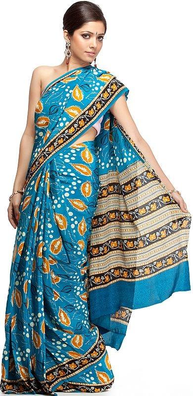 Blue Suryani Sari from Mysore with Printed Leaves
