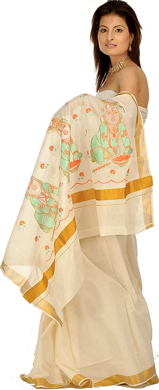 Ivory and Golden Kasavu Cotton Sari from Kerala with Little Krishna Embroidered on Anchal