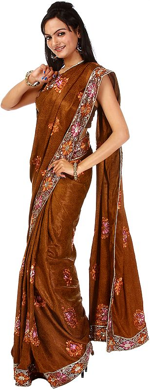 Brown Ari-Embroidered Sari with Self Weave and Sequins