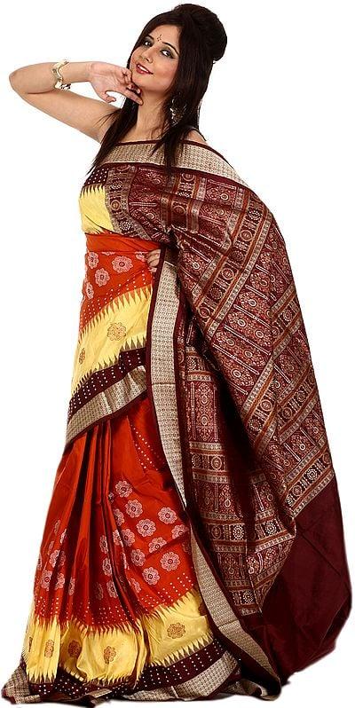 Tri-Color Designer Bomkai Sari with Woven Flowers and Rudraksha Border