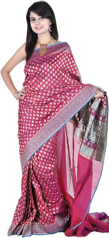Carmine-Purple Banarasi Sari with All-Over Woven Bootis and Brocaded Aanchal