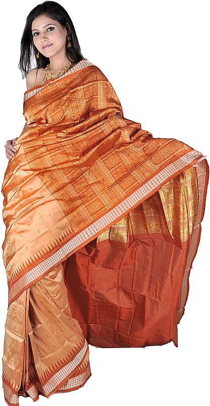 Golden Brown Bomkai Handloom Sari from Orissa with Woven Bootis and Rudraksha Border