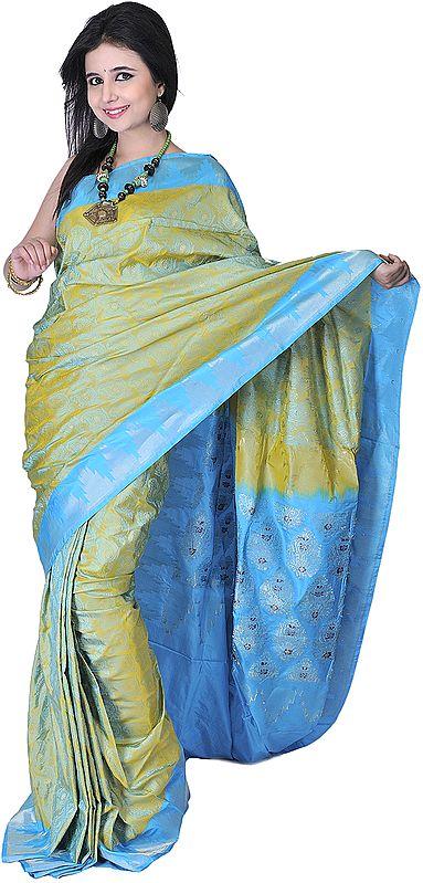 Moss-Green and Blue Banarasi Sari with Handwoven Paisleys and Temple Border