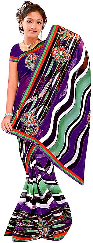 Multi-Color Printed Leheria Sari with Embroidered Bootis