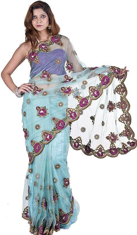 Aqua-Sky Designer Sari with Meatallic Thread Embroidered Flowers and Beads