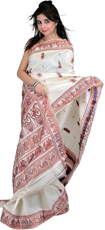 Ivory Baluchari Sari from Bengal with Hand Woven Dancing Apsaras on Aanchal