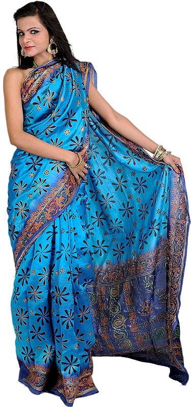 Aquarius-Blue Printed Sari from Kolkata with Metallic Thread Embroidered Flowers and Sequins