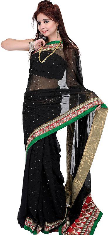 Black Designer Sari with Mokaish Work and Zardozi Patch Border