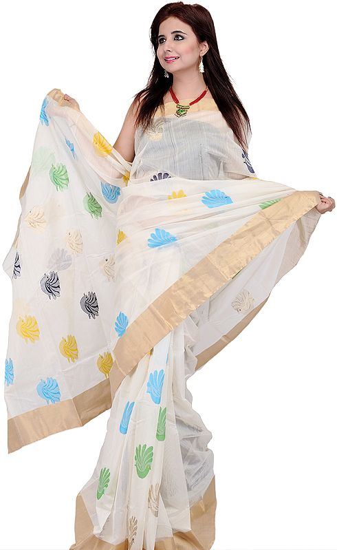 Ivory Chanderi Sari with Hand Woven Birds in Multi-Color Thread