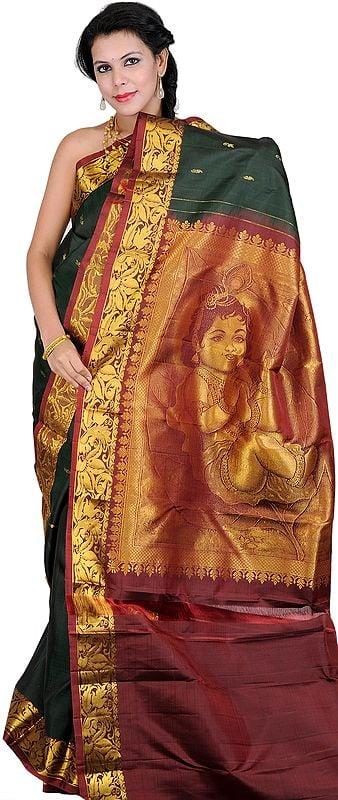 Rosin-Green Kanjivaram Sari with Hand-woven Little Krishna on Anchal