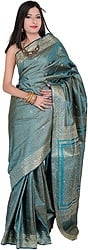 Tanchoi Sari from Banaras with Golden Thread Weave and Embroidered Bootis