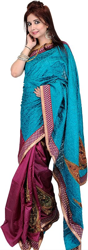 Blue Atoll and Purple Banarasi Sari with Embroidery in Self and Brocaded Aanchal