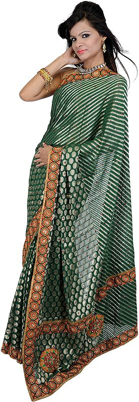 Hunter-Green Embroidered Wedding Sari with Mirror Work and Patch Border