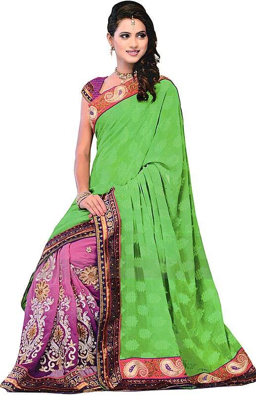 Green-Magenta Wedding Sari with Ari Embroidered Patch Border