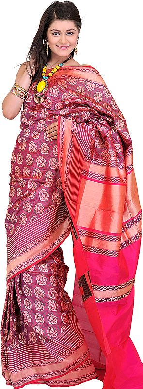 Barberry-Red Jamdani Sari from Banaras with Hand-Woven Booties
