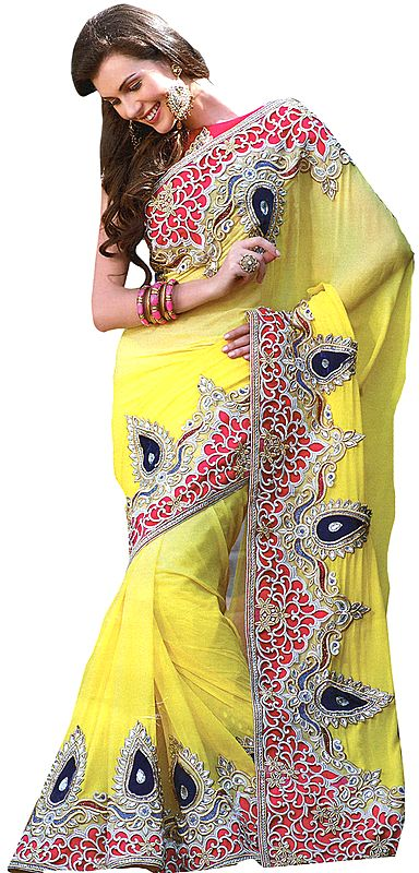 Cyber-Yellow Bridal Sari from Surat with Embroidery in Metallic Thread and Sequins