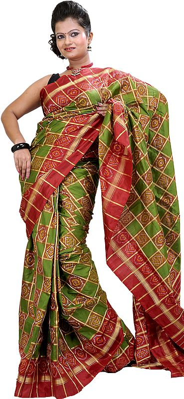 Green and Red Ikat Wedding Sari Hand-Woven in Pochampally