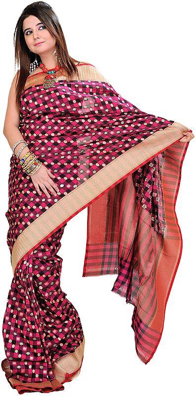 Beetroot-Pink Banarasi Sari with Hand-Woven Lotus and Golden Border