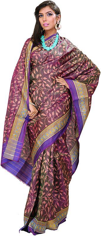 Deep-Purple Patan Patola Sari from Gujarat with Ikat Weave