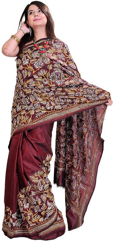 Oxblood-Brown Kantha Sari from Kolkata with Hand Embroidered Paisleys and Foliage