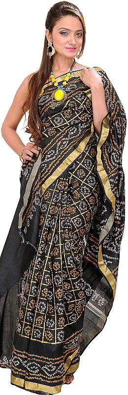 Black Bandhani Tie-Dye Gharchola Sari from Gujrat with Golden Thread Weave