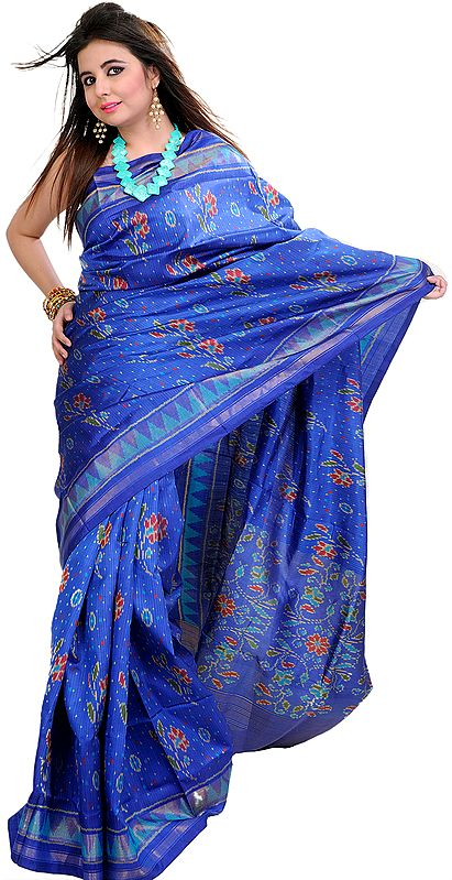 True-Blue Patan Patola Ikat Sari From Gujarat with Woven Flowers