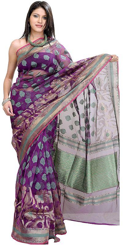 Purple-Magic Banarasi Sari With Woven Flowers and Brocaded Aanchal