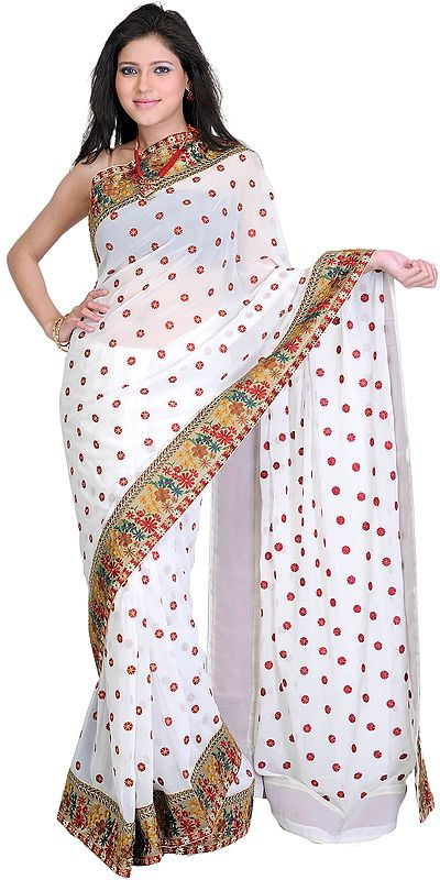 Bright-White Georgette Sari with Embroidered Bootis and Patch Border
