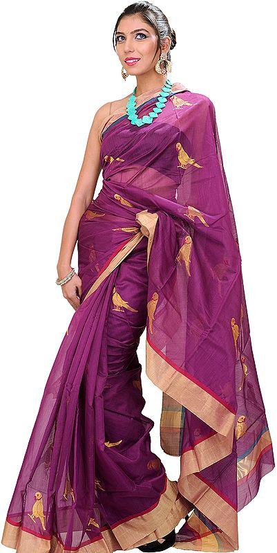 Purple-Wine Chanderi Sari with Hand-woven Parrots